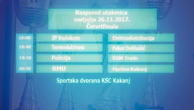 """Biznis liga """"Kakanj 2017"""": Raspored utakmica za nedjelju 26.11. – Četvrtfinale"""