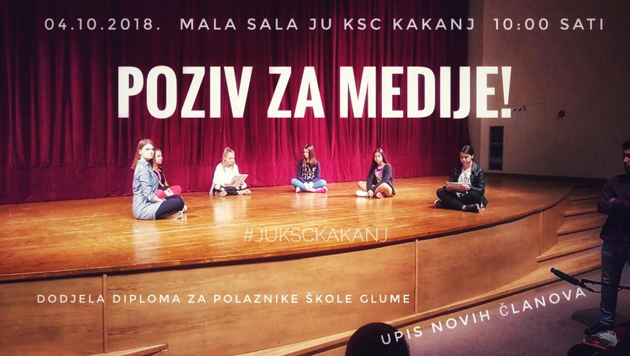 Poziv za medije – Sutra dodjela diploma za polaznike Škole glume i upis novih članova