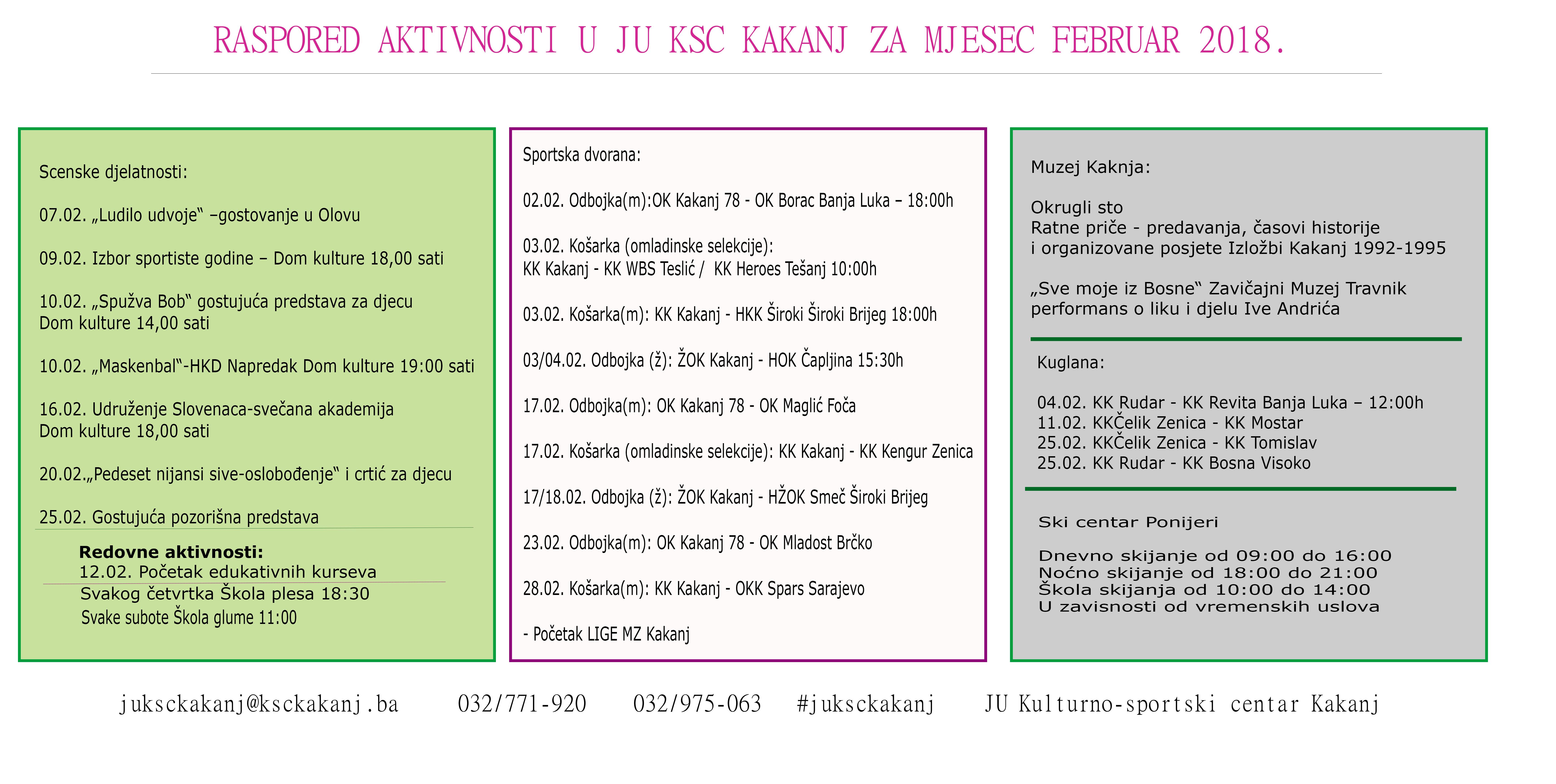 Pogledajte raspored aktivnosti u JU KSC Kakanj za mjesec februar 2018. godine
