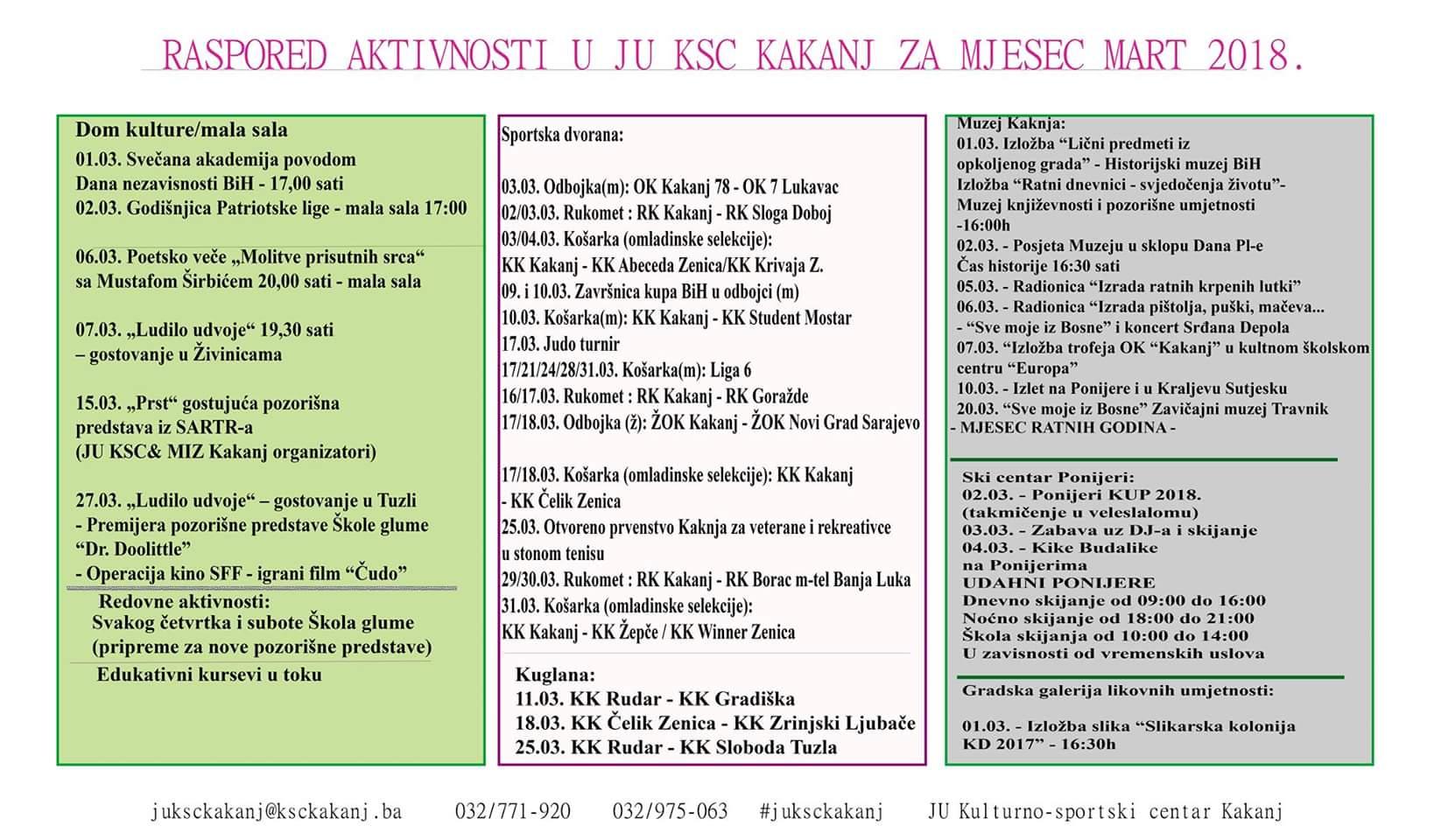 Raspored aktivnosti u JU KSC Kakanj za mjesec mart 2018. godine