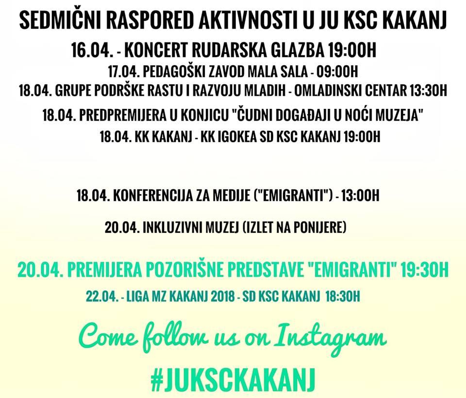 Sedmični raspored aktivnosti u JU KSC Kakanj