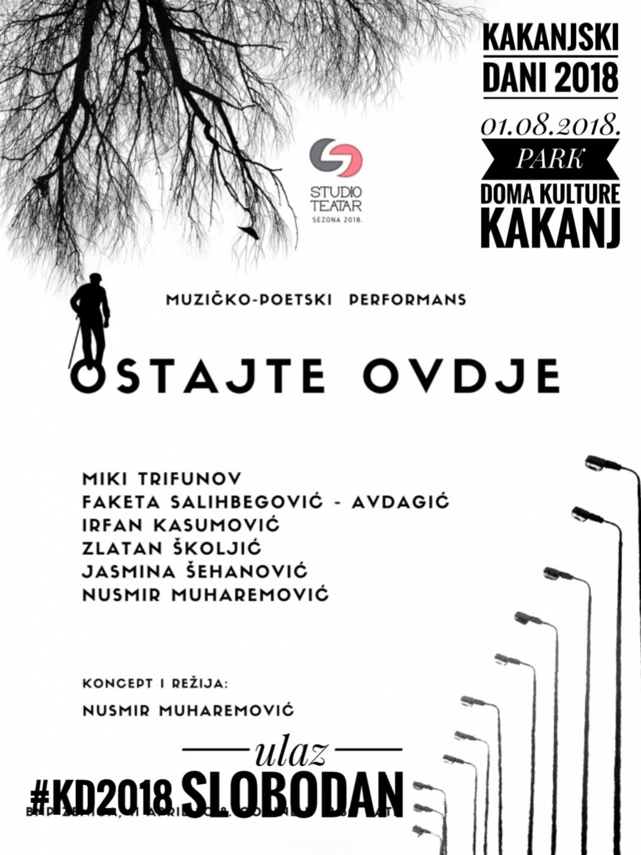 """KD2018: Muzičko-poetski performans """"OSTAJTE OVDJE"""" 01.08.2018.godine pod otvorenim nebom u Parku Doma kulture Kakanj"""