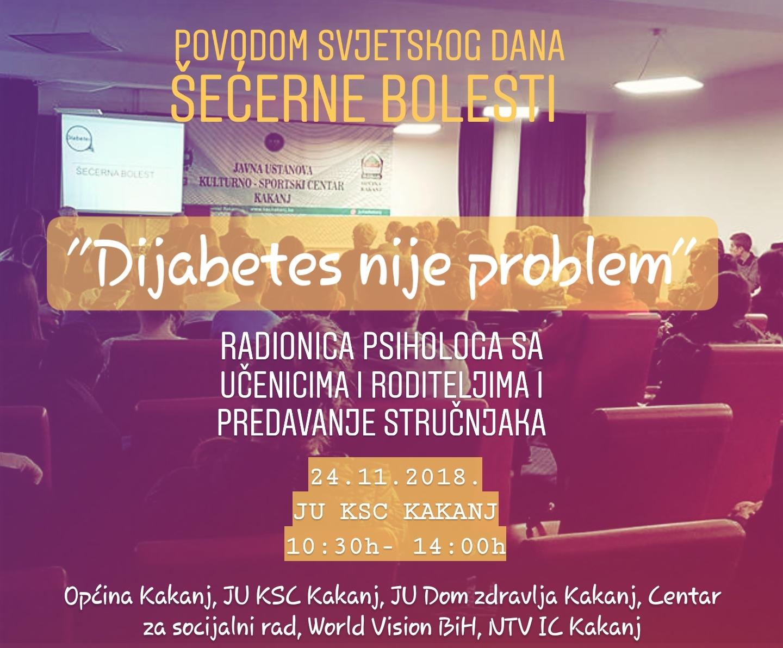 """Povodom Svjetskog dana šećerne bolesti u JU KSC Kakanj danas će se realizovati projekat """"Dijabetes nije problem"""""""