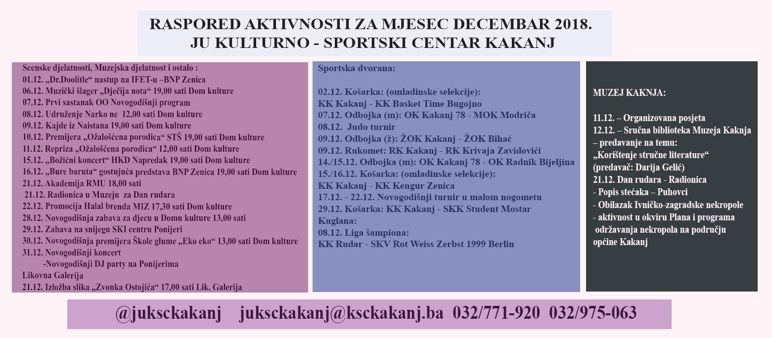Pogledajte raspored aktivnosti JU KSC Kakanj za mjesec decembar 2018. godine