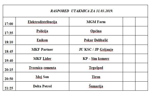 Biznis liga: Raspored utakmica za nedjelju 31.03.2019.godine