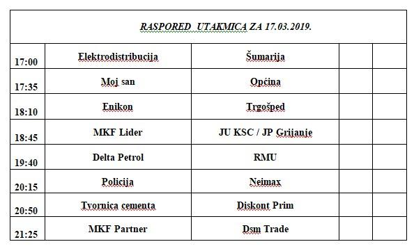 Biznis liga: Raspored utakmica za nedjelju 17. mart