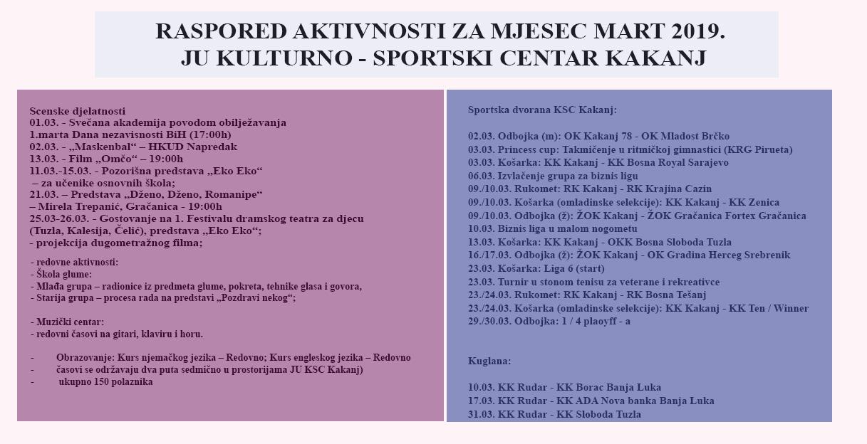 Raspored aktivnosti za mjesec mart 2019. godine – JU KSC Kakanj