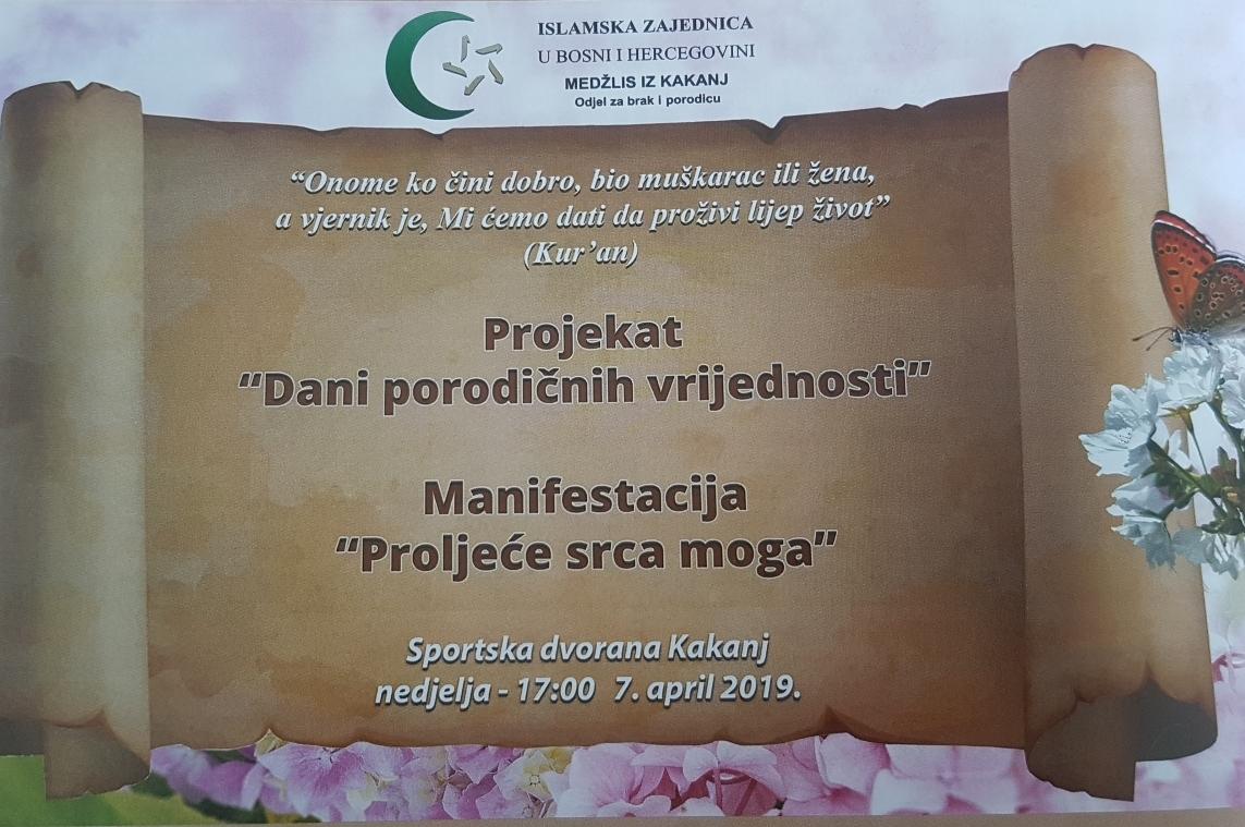 """Projekat """"Dani porodičnih vrijednosti"""": Manifestacija """"Proljeće srca moga"""""""