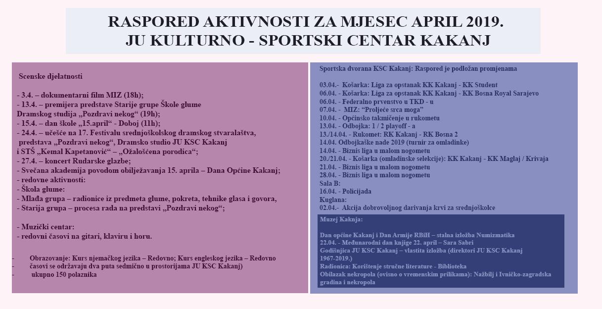Raspored aktivnosti u JU KSC Kakanj za mjesec april 2019. godine