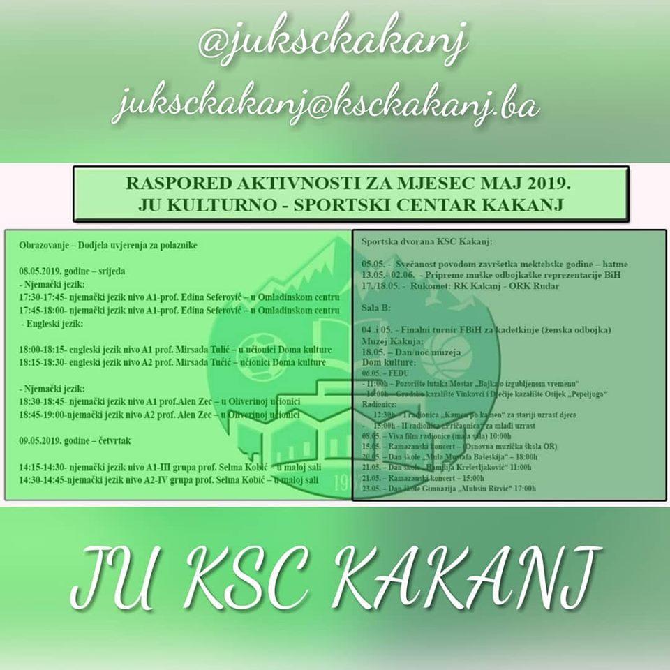 Raspored aktivnosti u JU KSC Kakanj za mjesec maj 2019. godine