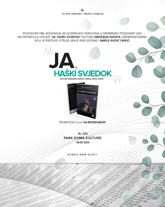 """Najava: Promocija knjige """"Ja, haški svjedok"""" u Parku Doma kulture"""