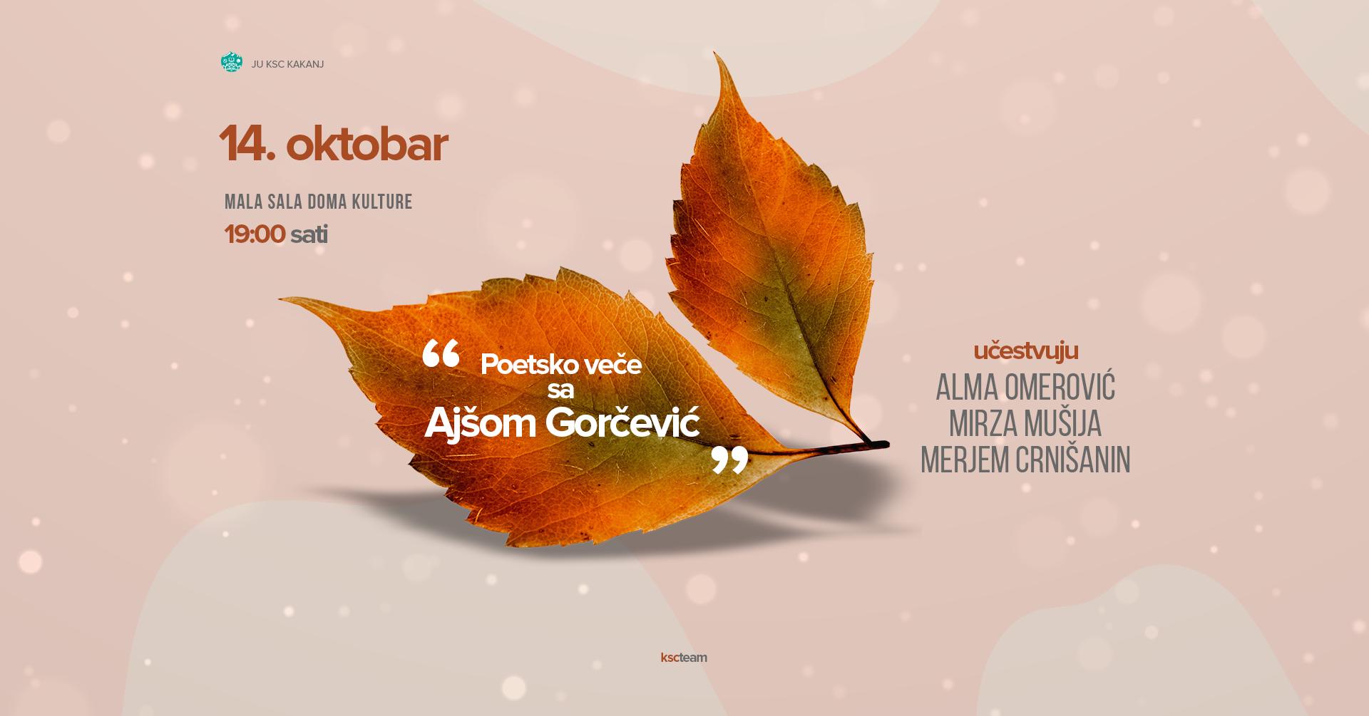 Poetsko veče sa Ajšom Gorčević – 14. oktobra u maloj sali KSC