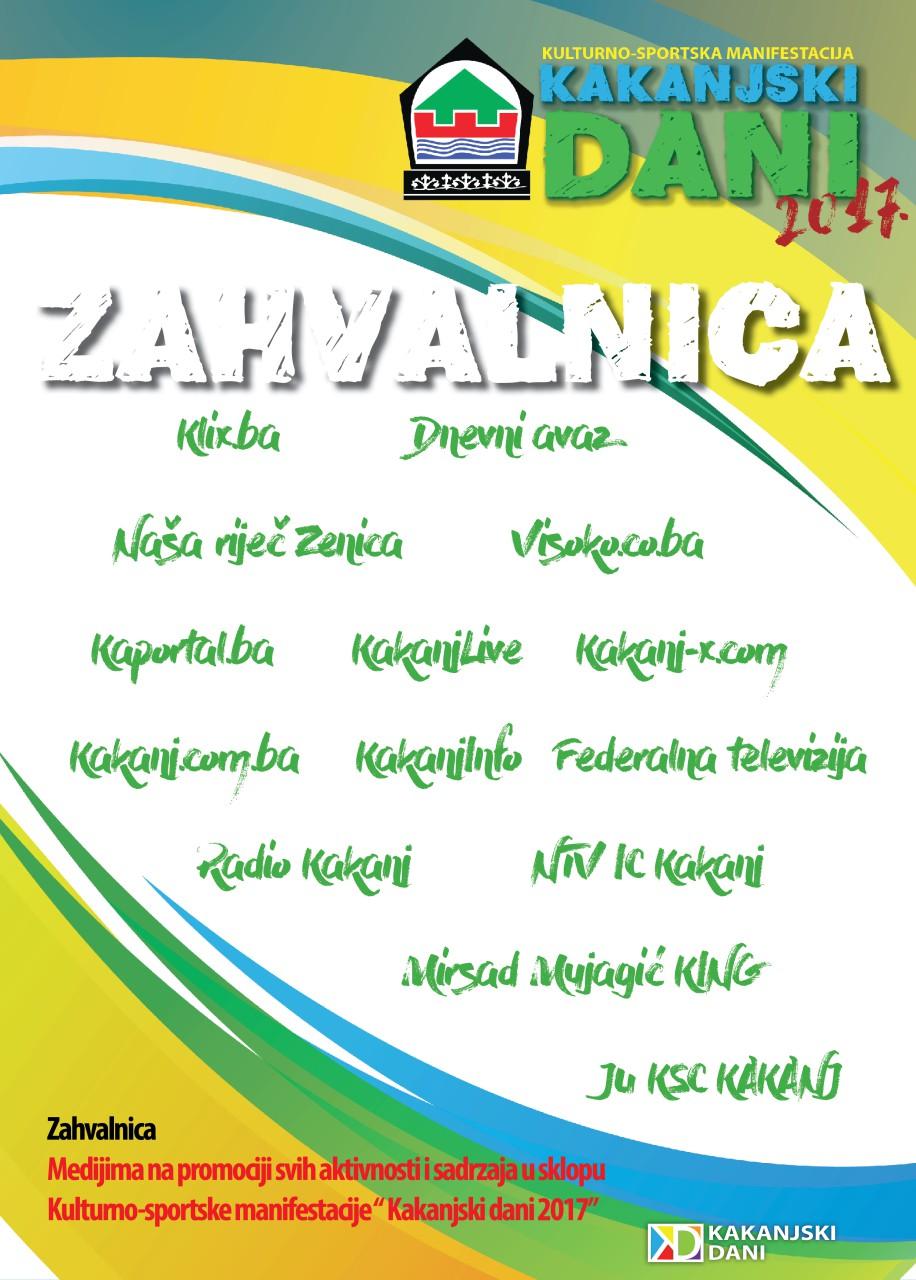"""Zahvalnica medijima i web portalima na promociji svih aktivnosti i sadržaja u sklopu Kulturno-sportske manifestacije """"Kakanjski dani 2017"""""""
