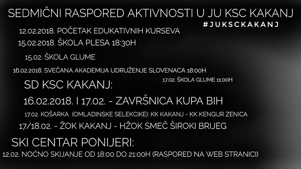Pogledajte sedmični raspored aktivnosti JU KSC Kakanj