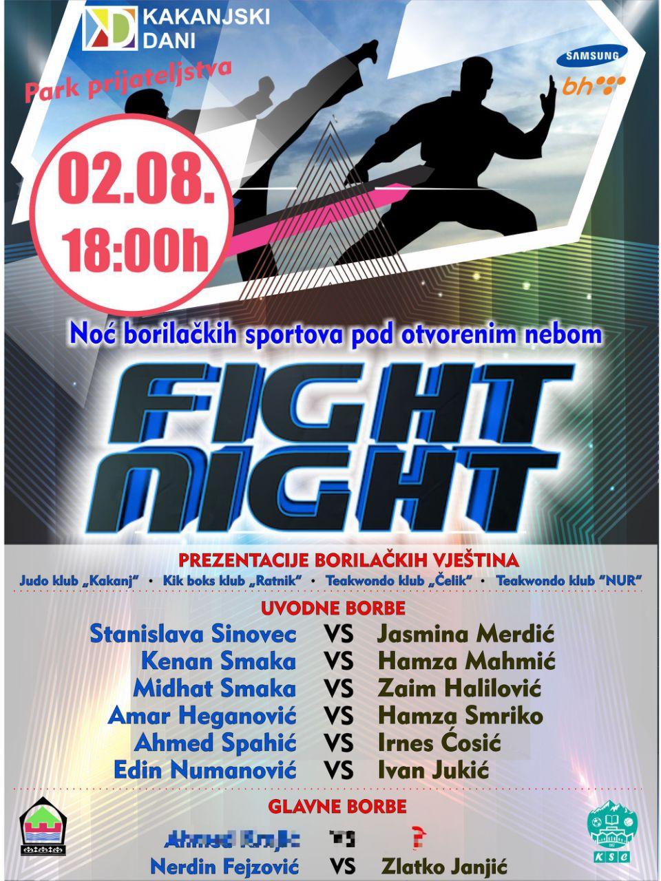 """BORILAČKI SPEKTAKL: Noć borilačkih sportova pod otvorenim nebom """"FIGHT NIGHT"""""""