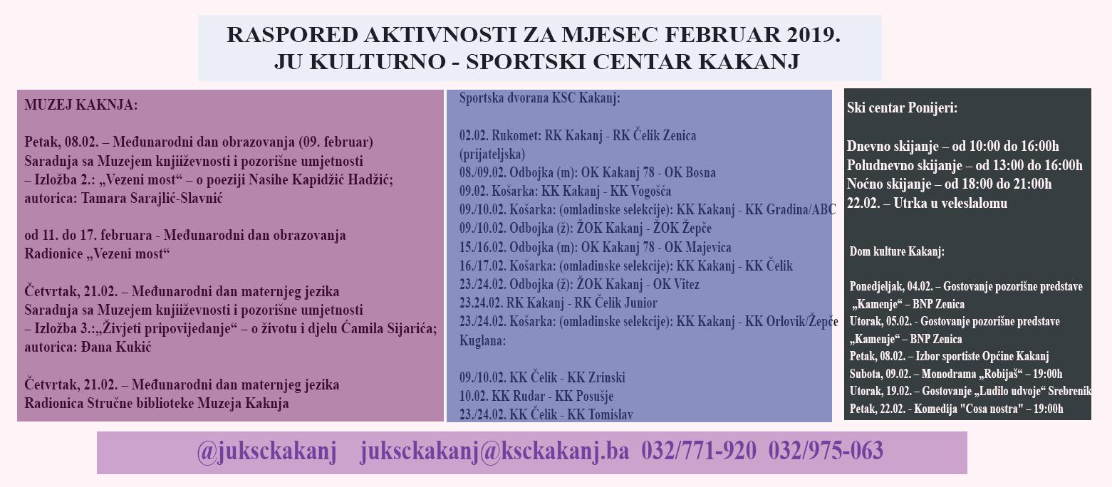 Raspored aktivnosti u JU KSC Kakanj za mjesec februar 2019. godine