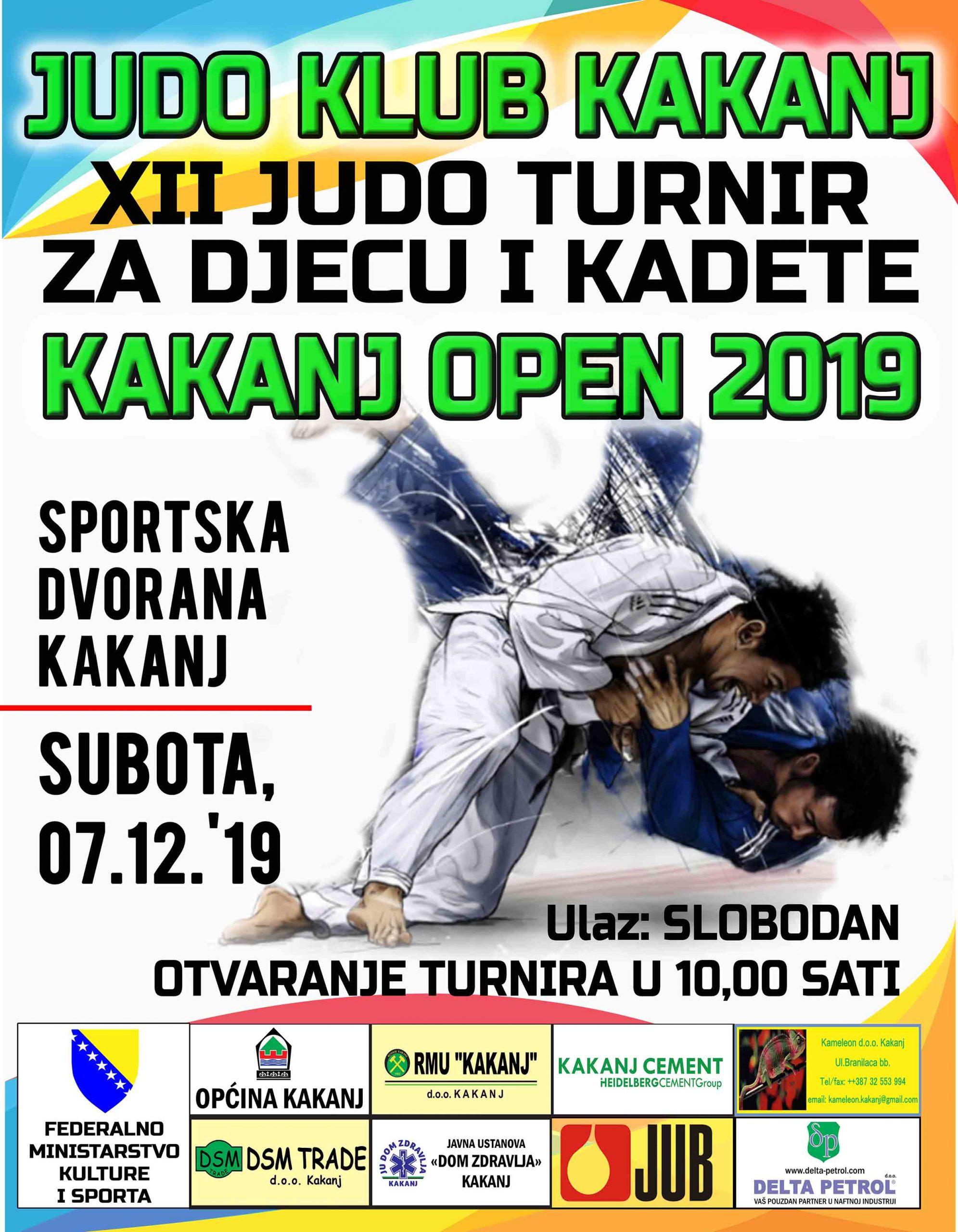 """U subotu XII Judo turnir za djecu i kadete """"Kakanj Open 2019"""" u Sportskoj dvorani KSC"""