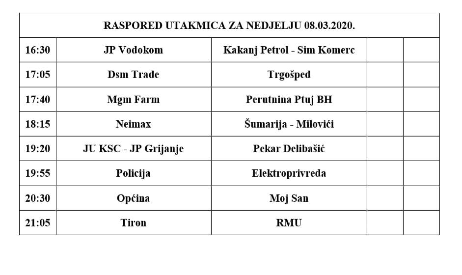 BIZNIS LIGA: Raspored utakmica za nedjelju 08.03.2020.